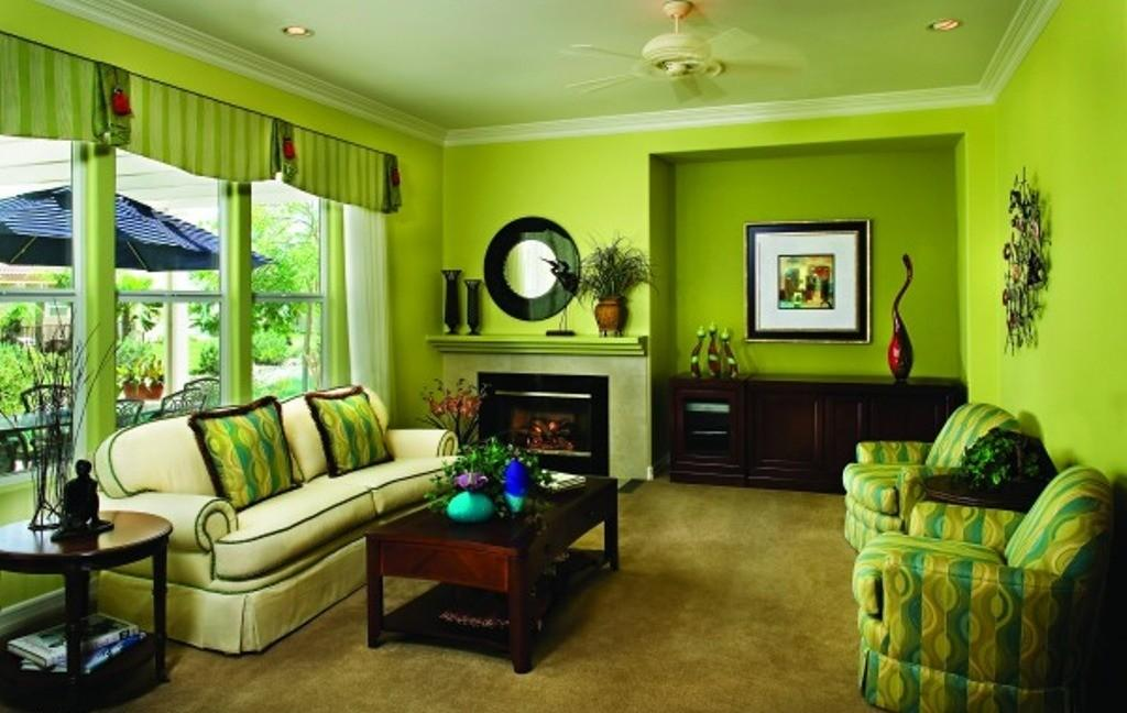 Green Wall Color Dark Finished Wooden Coffee Table