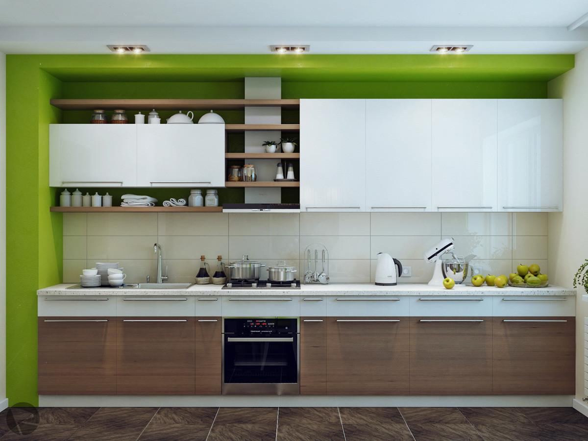 Green White Wood Kitchen Interior Design Ideas