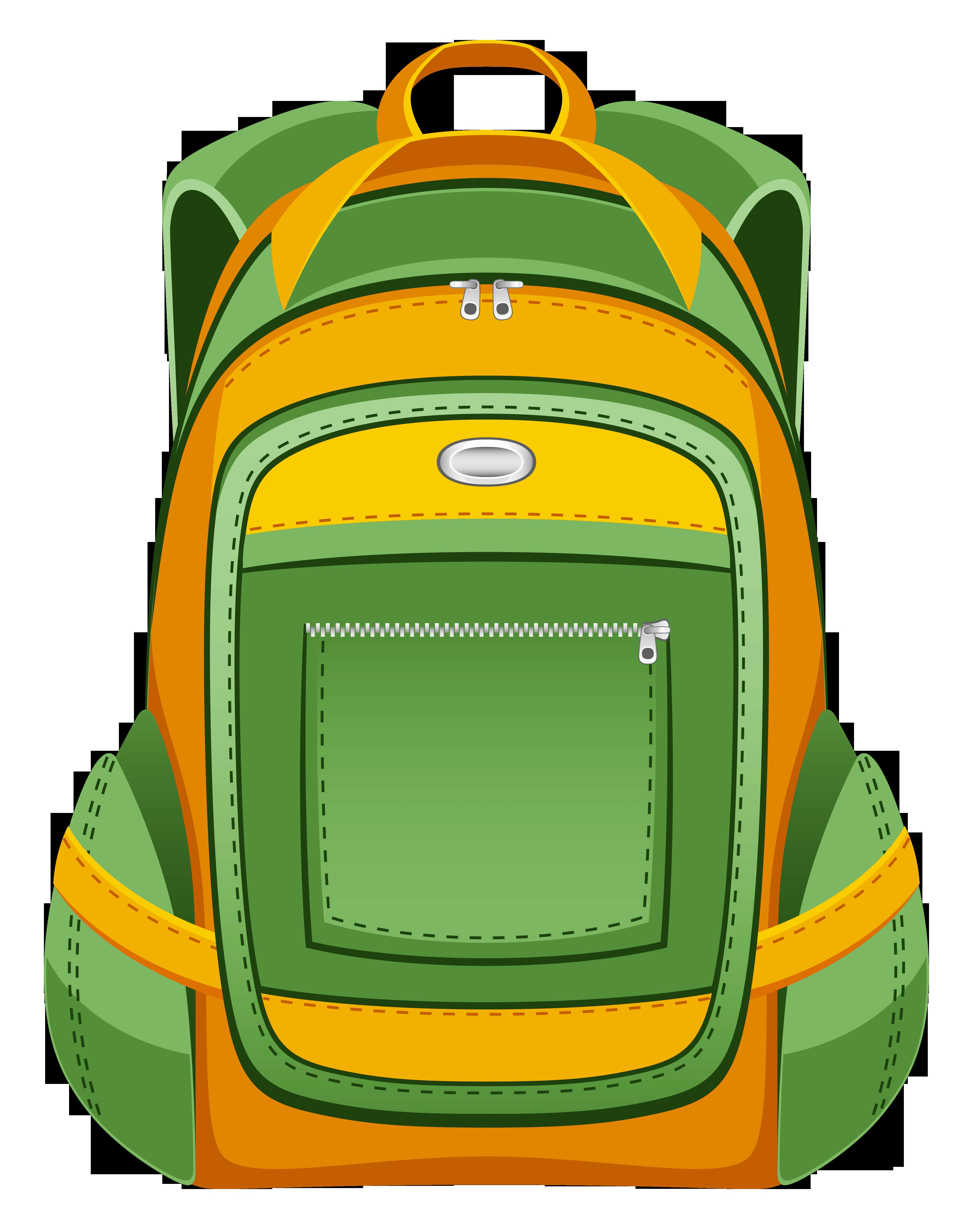 Green Yellow Backpack Vector Clipart