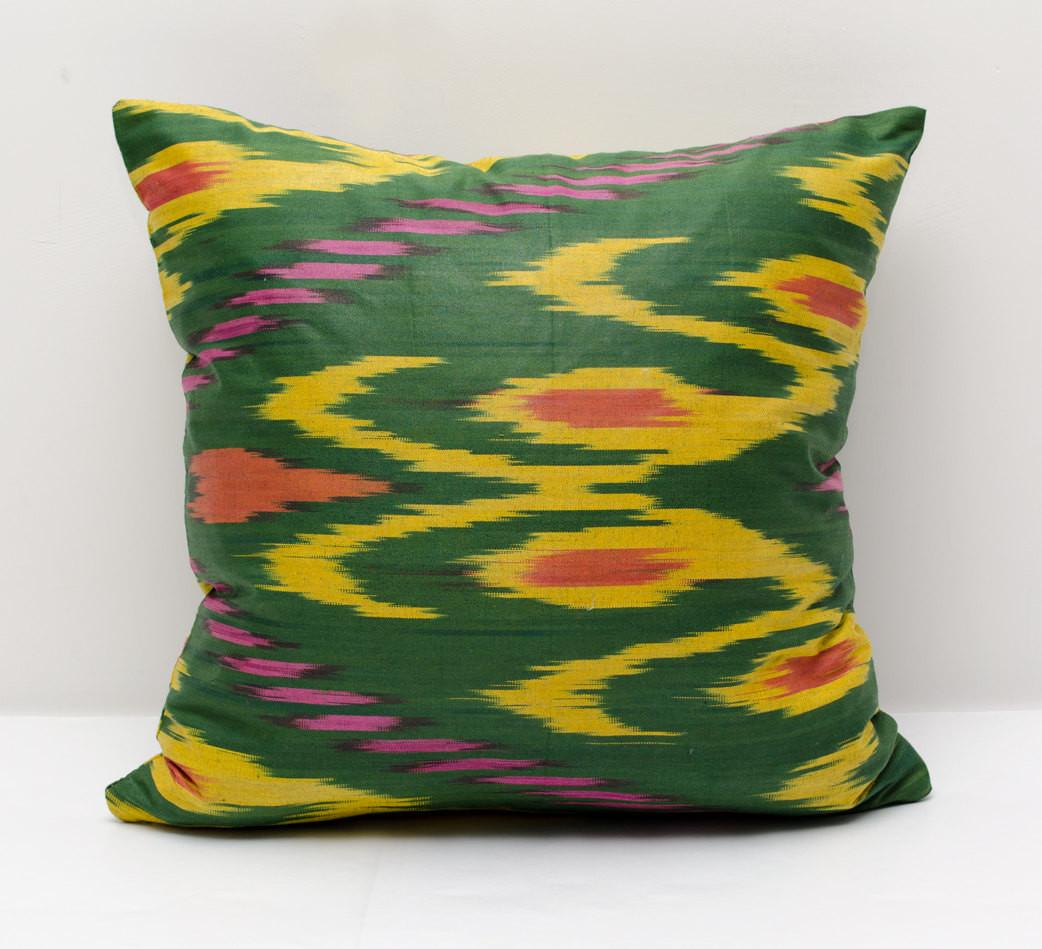 Green Yellow Ikat Pillow Cover Pillows