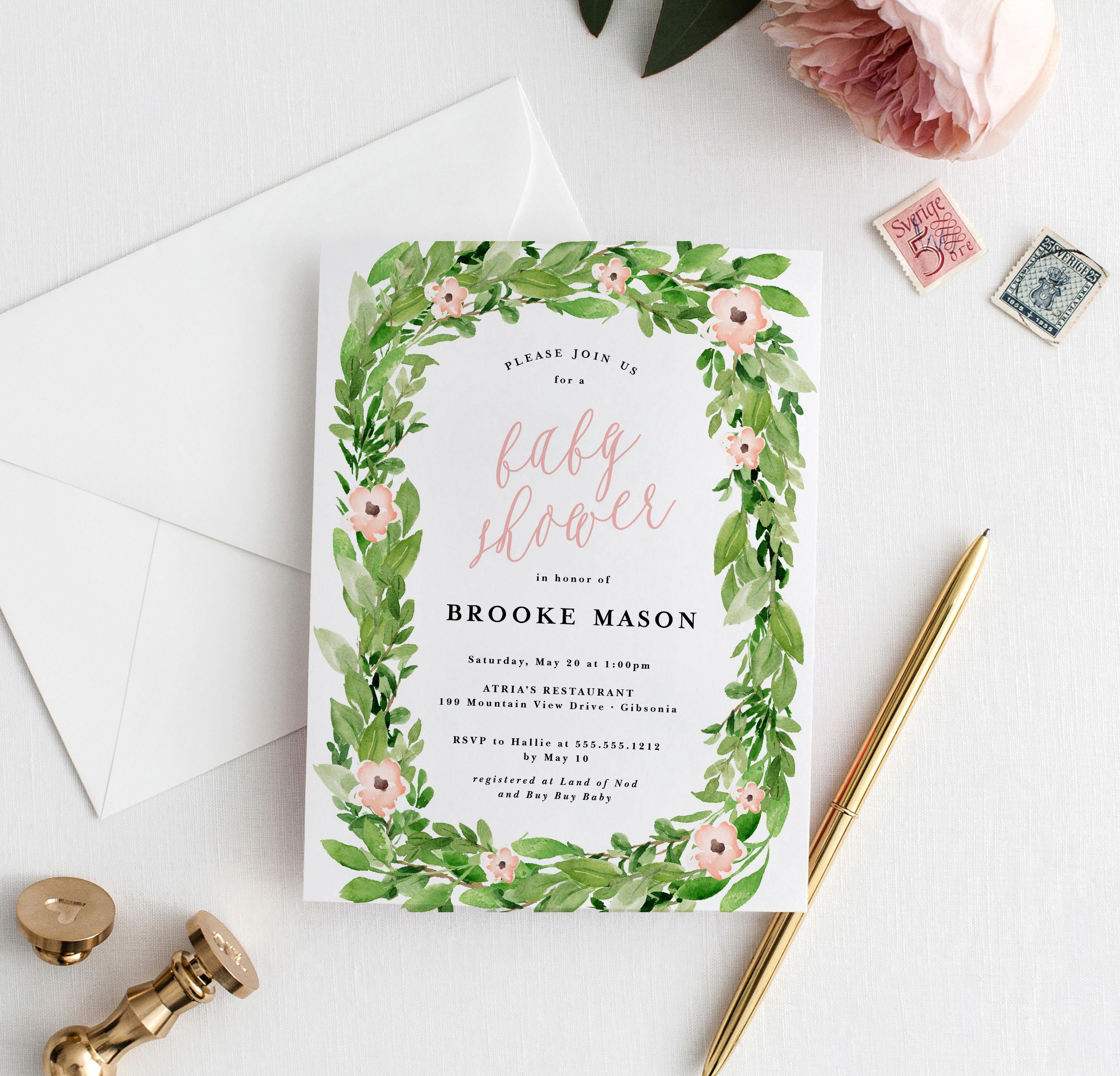 Greenery Wreath Spring Baby Shower Invitation Blush