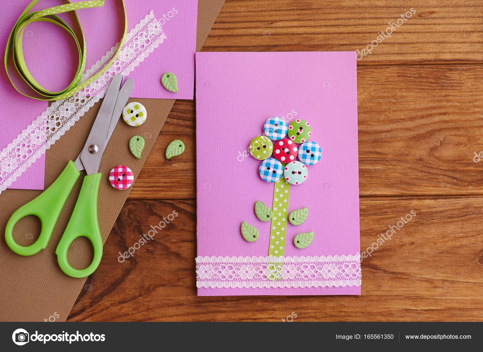 Greeting Card Flower Wooden Buttons Decorated