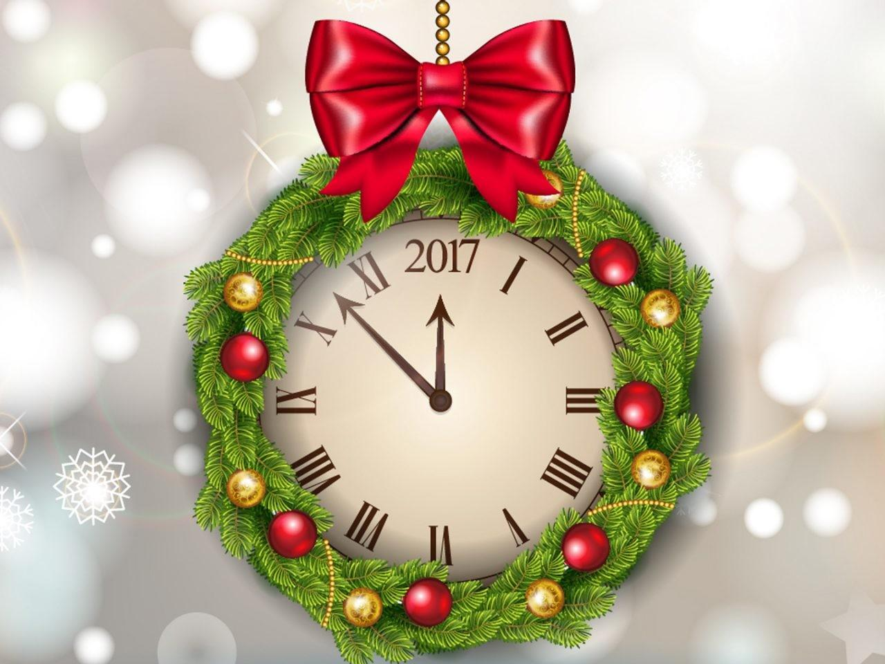 Greeting Card Happy New Year Clock Decorated Pine