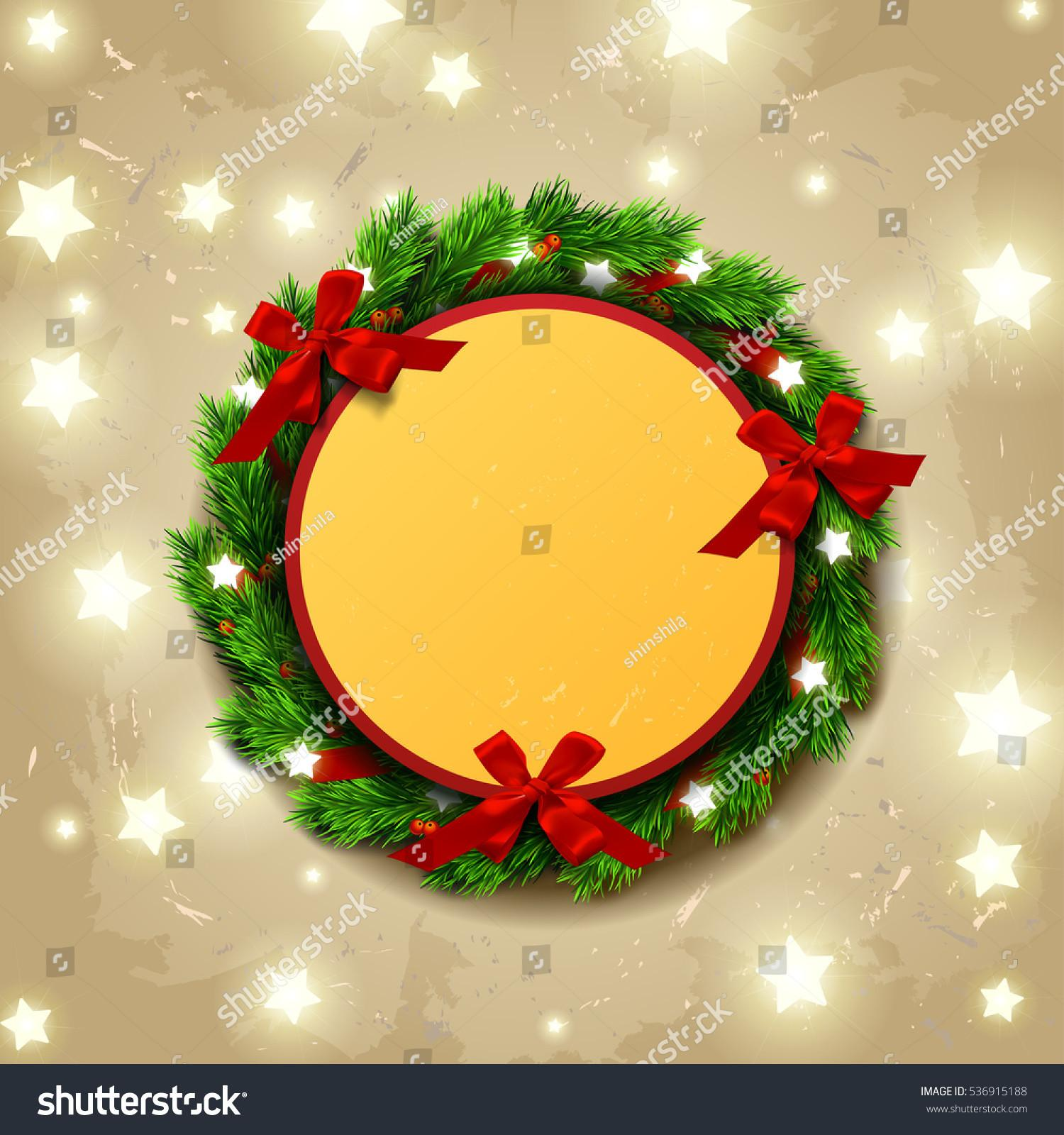 Greeting Card Wreath Glowing Star Lights Stock