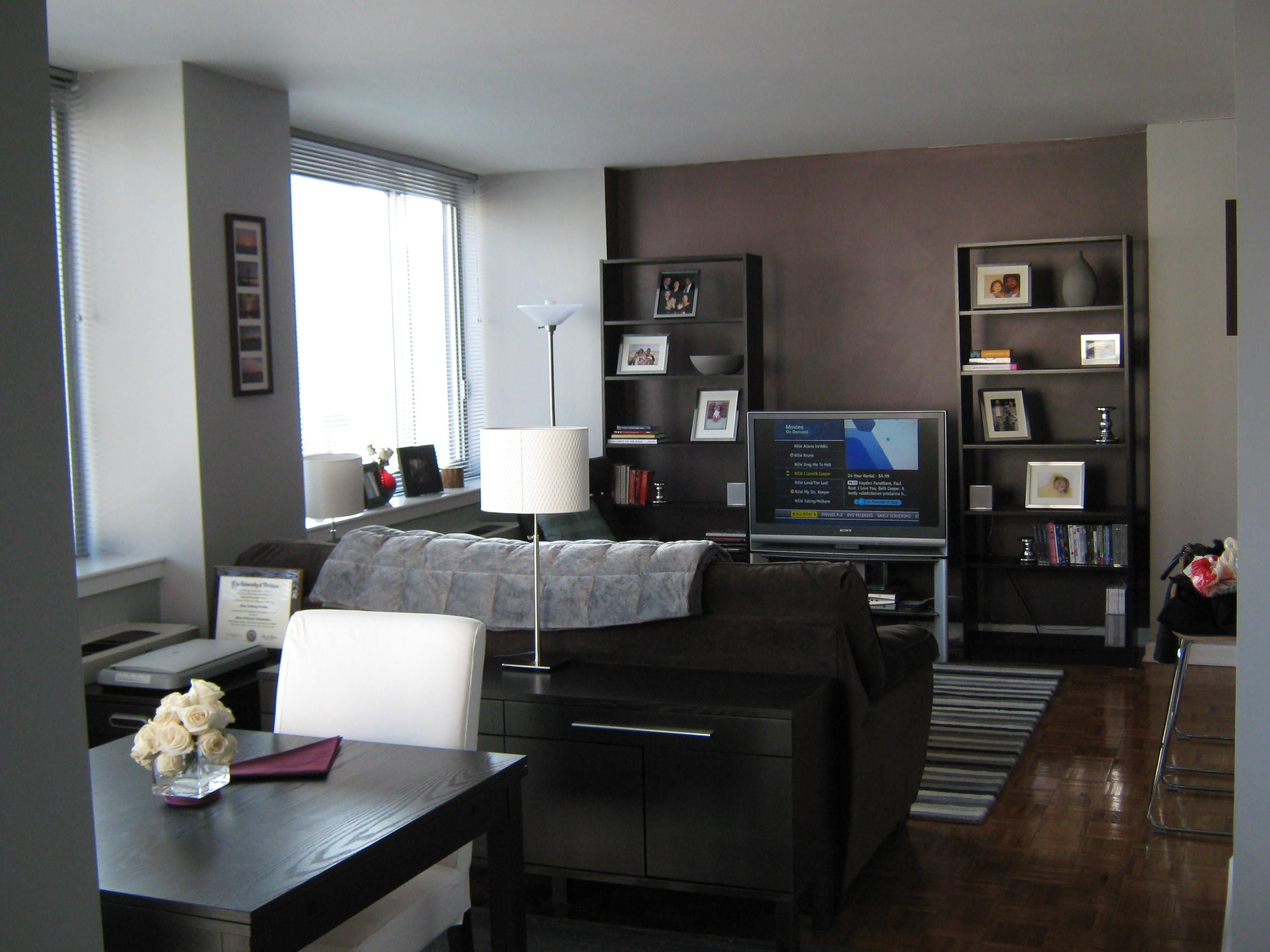 Grey Accent Living Room Wall Combined Black Sofa