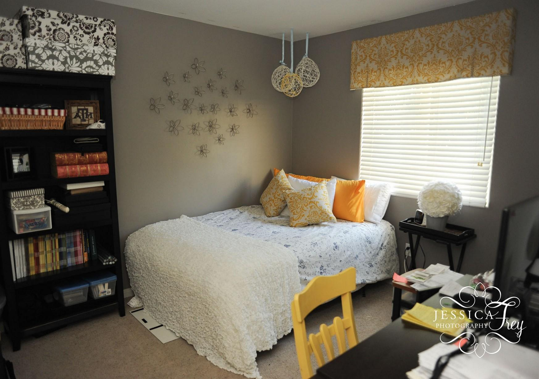 Grey Bedroom Yellow Accent Wall Contemporary Excerpt