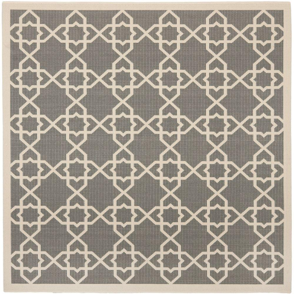 Grey Beige Indoor Outdoor Summer Area Rug Square