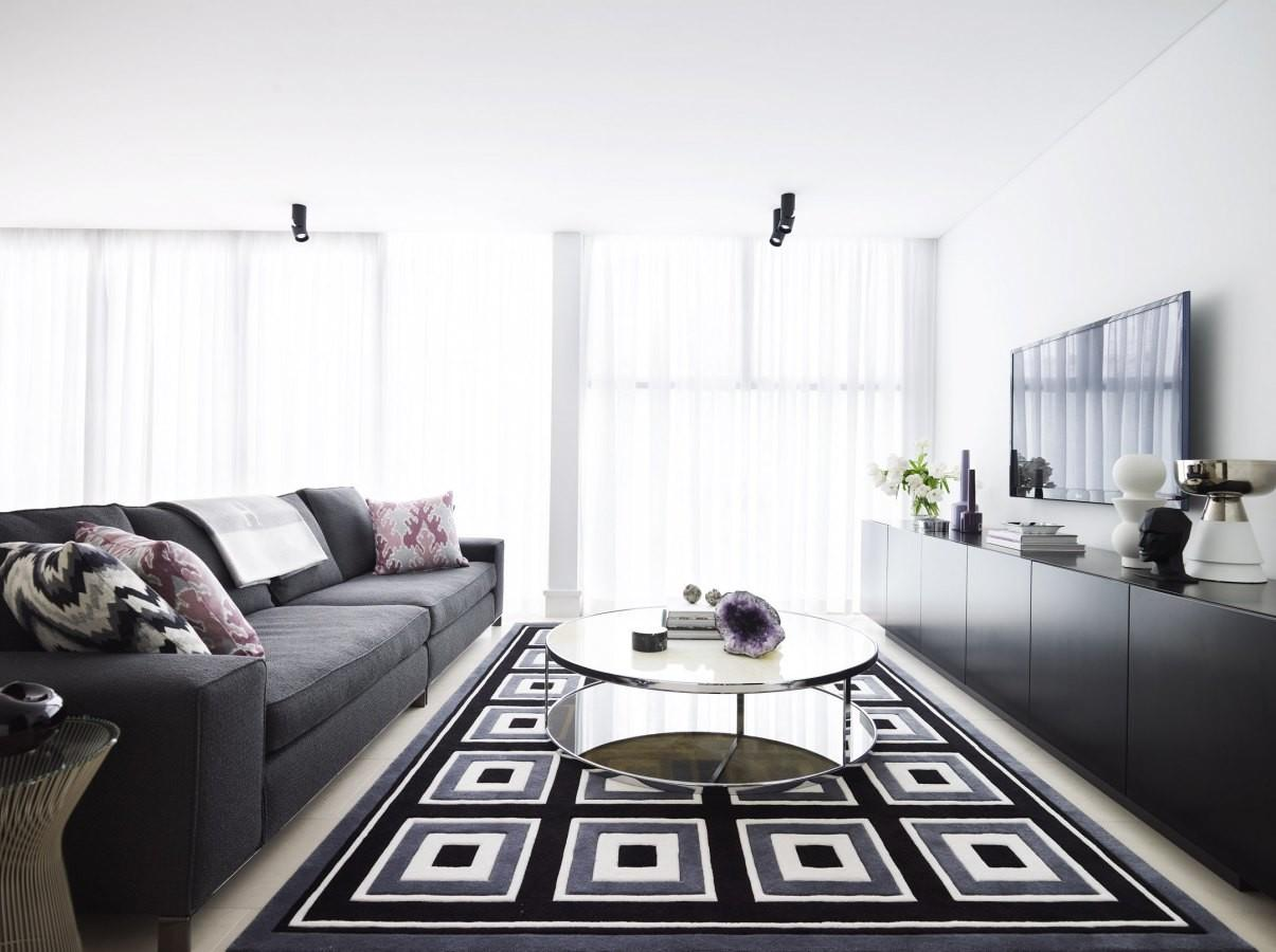 Grey Black White Living Room Interior Design