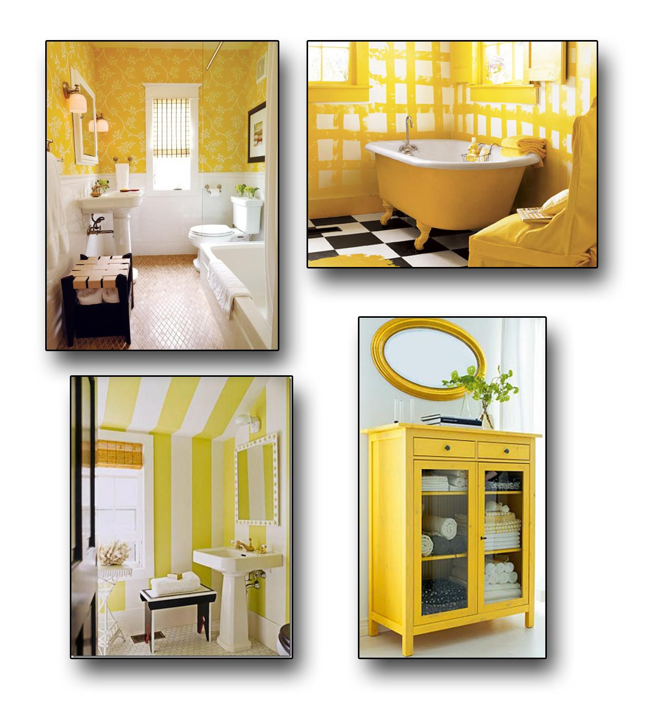 Grey Black Yellow Bathroom Decorating Clear
