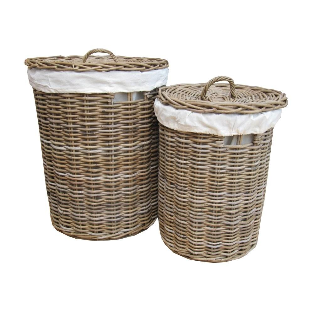 Grey Buff Round Rattan Laundry Basket