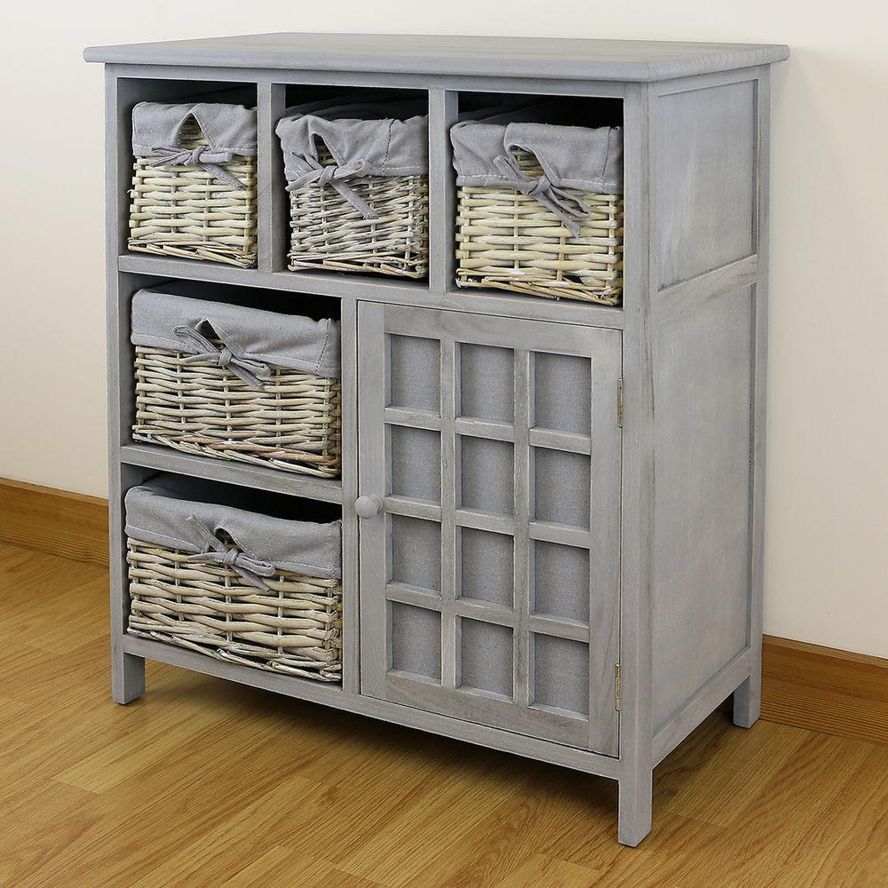 Grey Drawer Hallway Bedroom Storage Unit Farmhouse