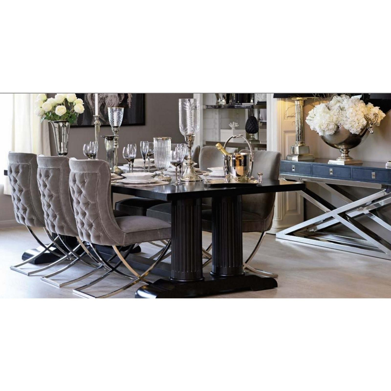Grey Velvet Chrome Dining Chair