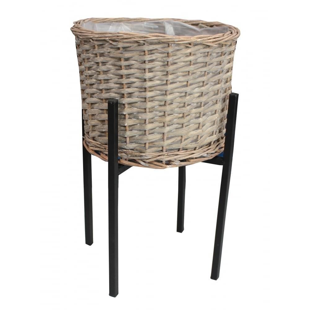 Grey Wash Wicker Round Planter Stand