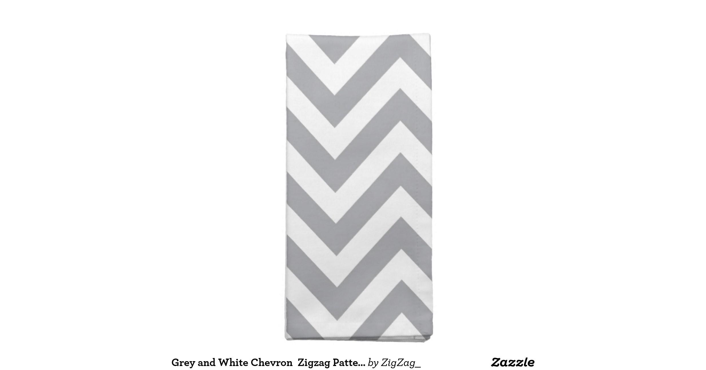 Grey White Chevron Zigzag Pattern Printed Napkin Zazzle