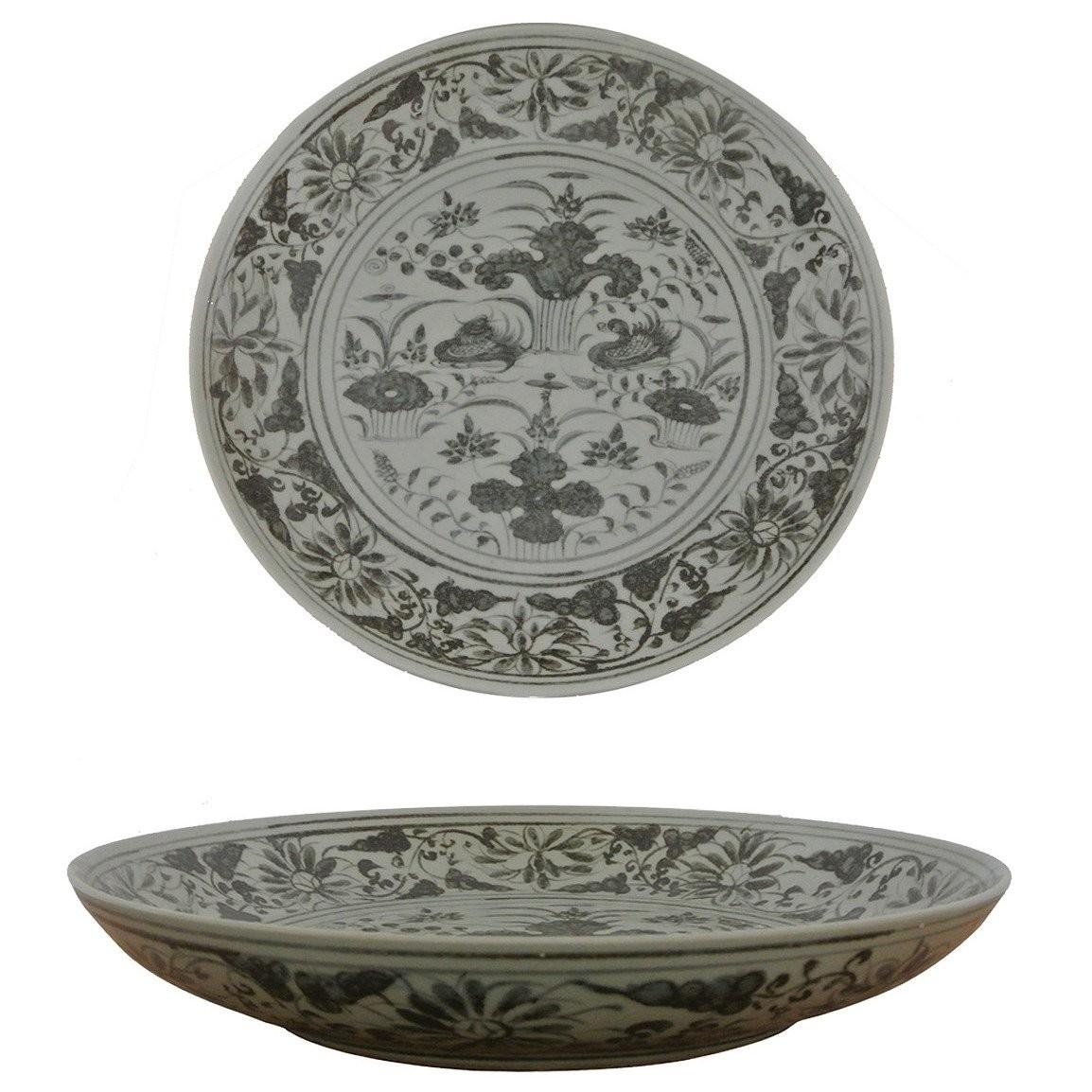 Grey White Porcelain Charger Plate Ming Style