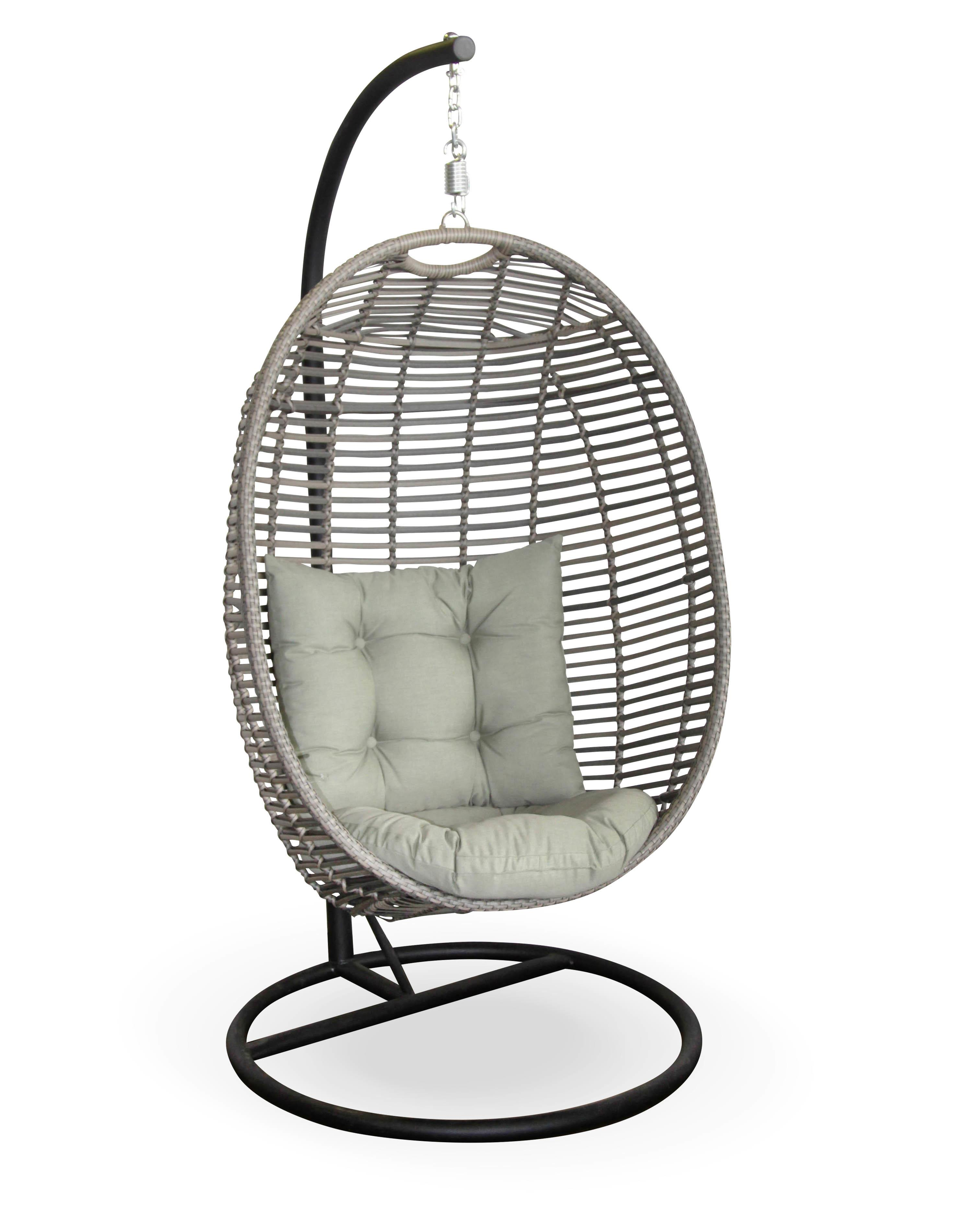 Grey Wicker Hanging Swing Chair Egg Shape Completed