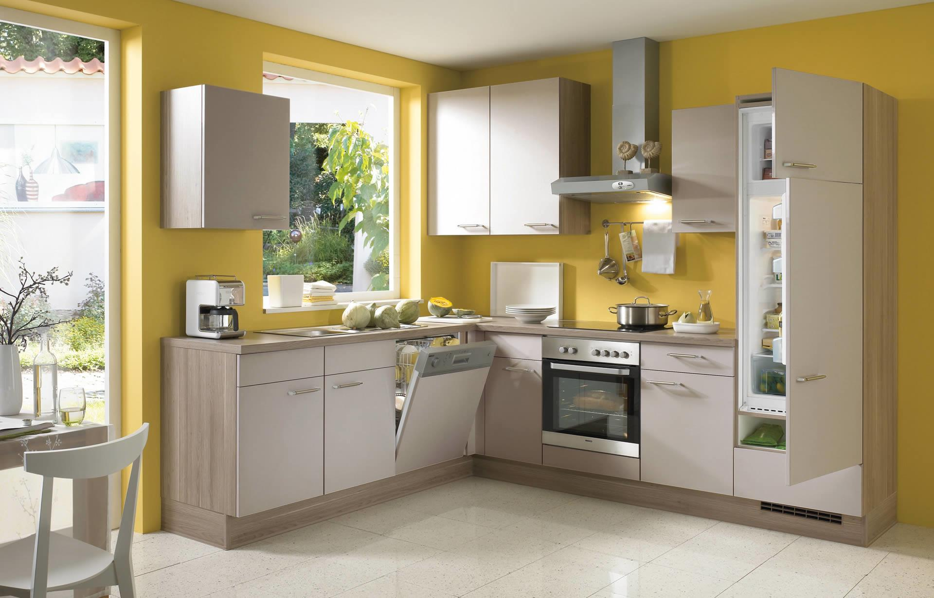 Grey Yellow Kitchen Inside Cabinets