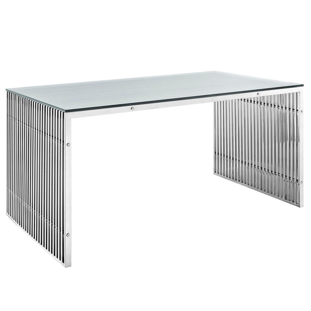 Gridiron Stainless Steel Dining Table Modway Furniture