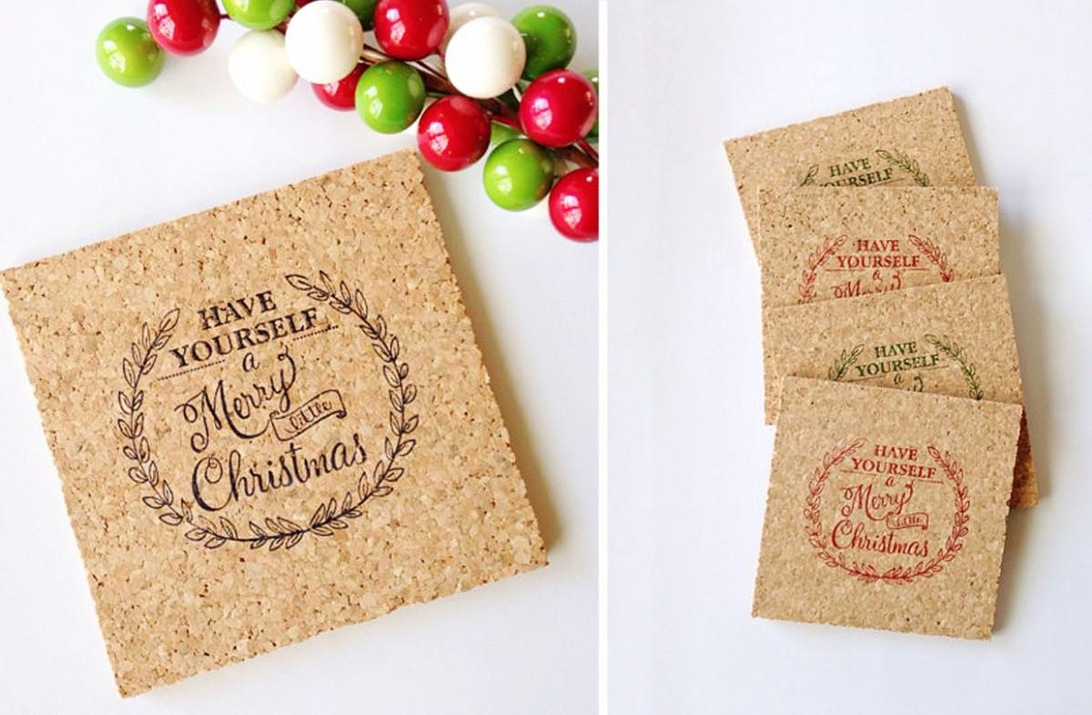 Groopdealz Merry Little Christmas Holiday Coasters Set
