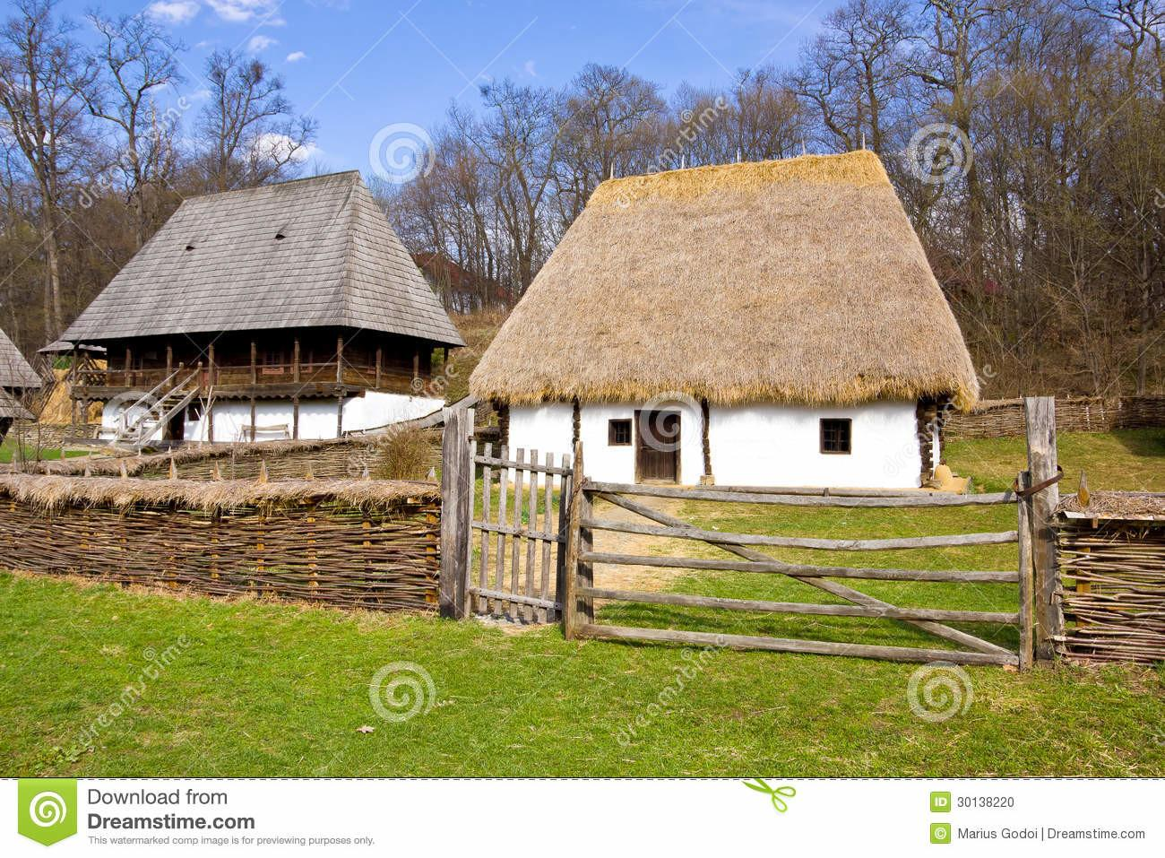 Group Romanian Peasant Houses Stock