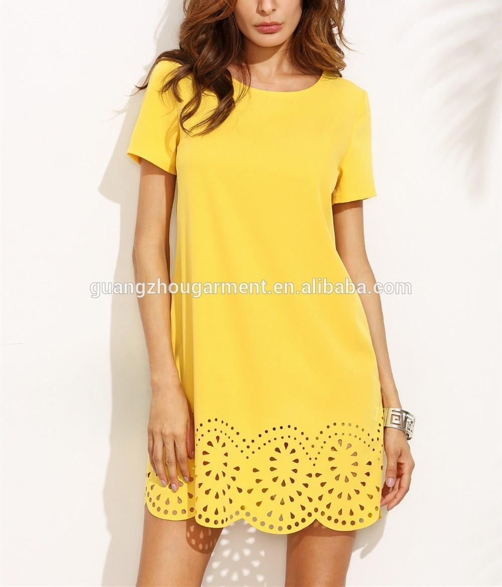 Guangzhou Latest Cheap Clothing Summer Casual Yellow Shift