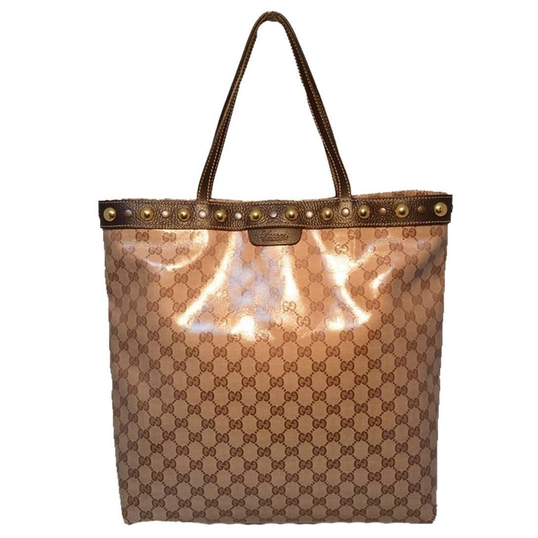 Gucci Monogram Canvas Studded Shopping Brown Tote Bag