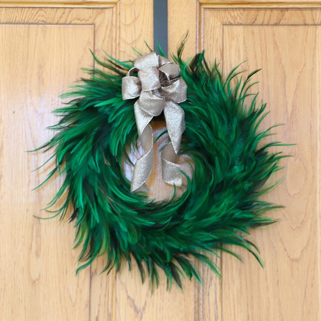 Hackle Feather Wreath Emerald Wreaths