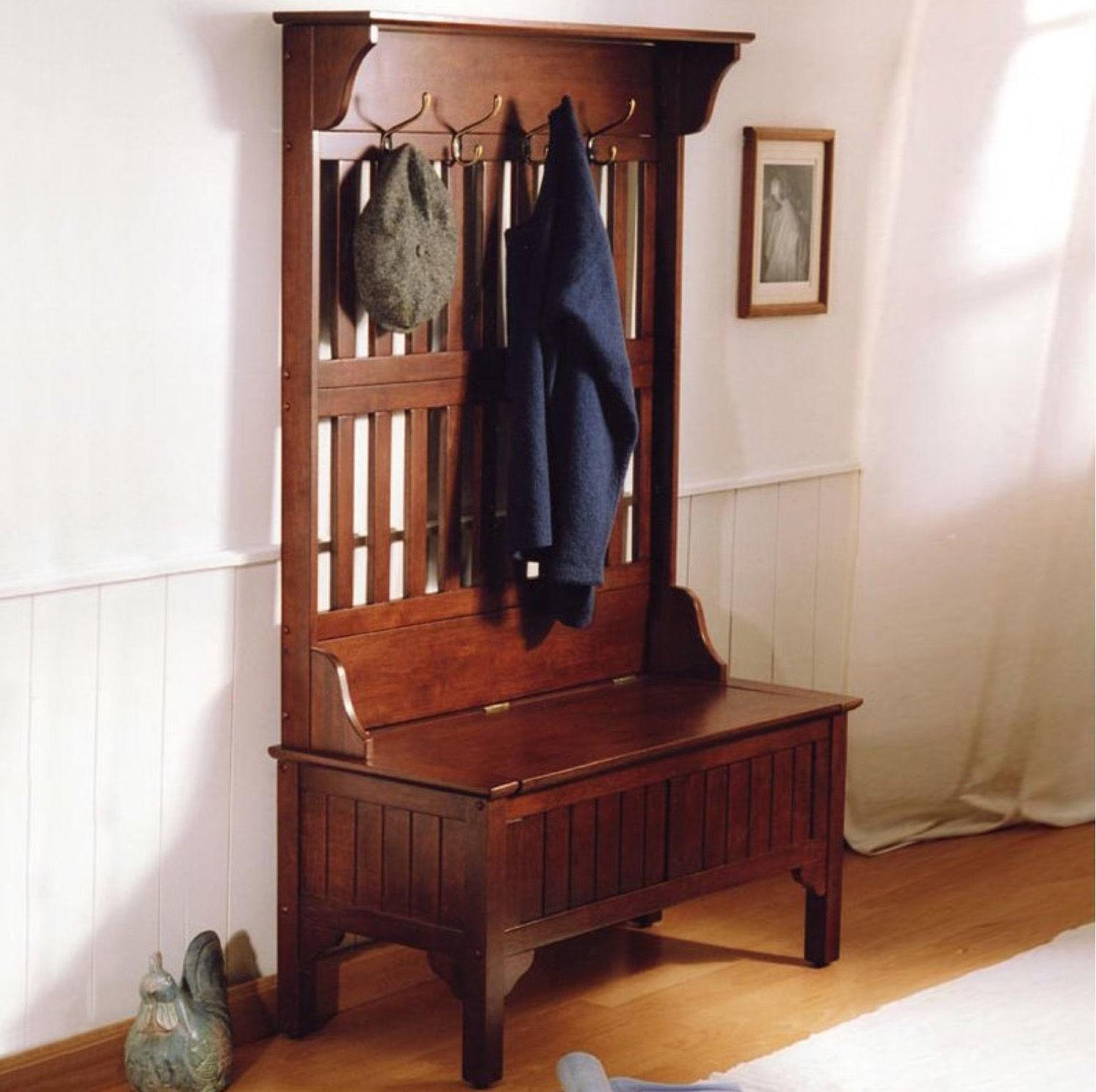 Hall Tree Bench Coat Rack Stand Entryway Storage Wood