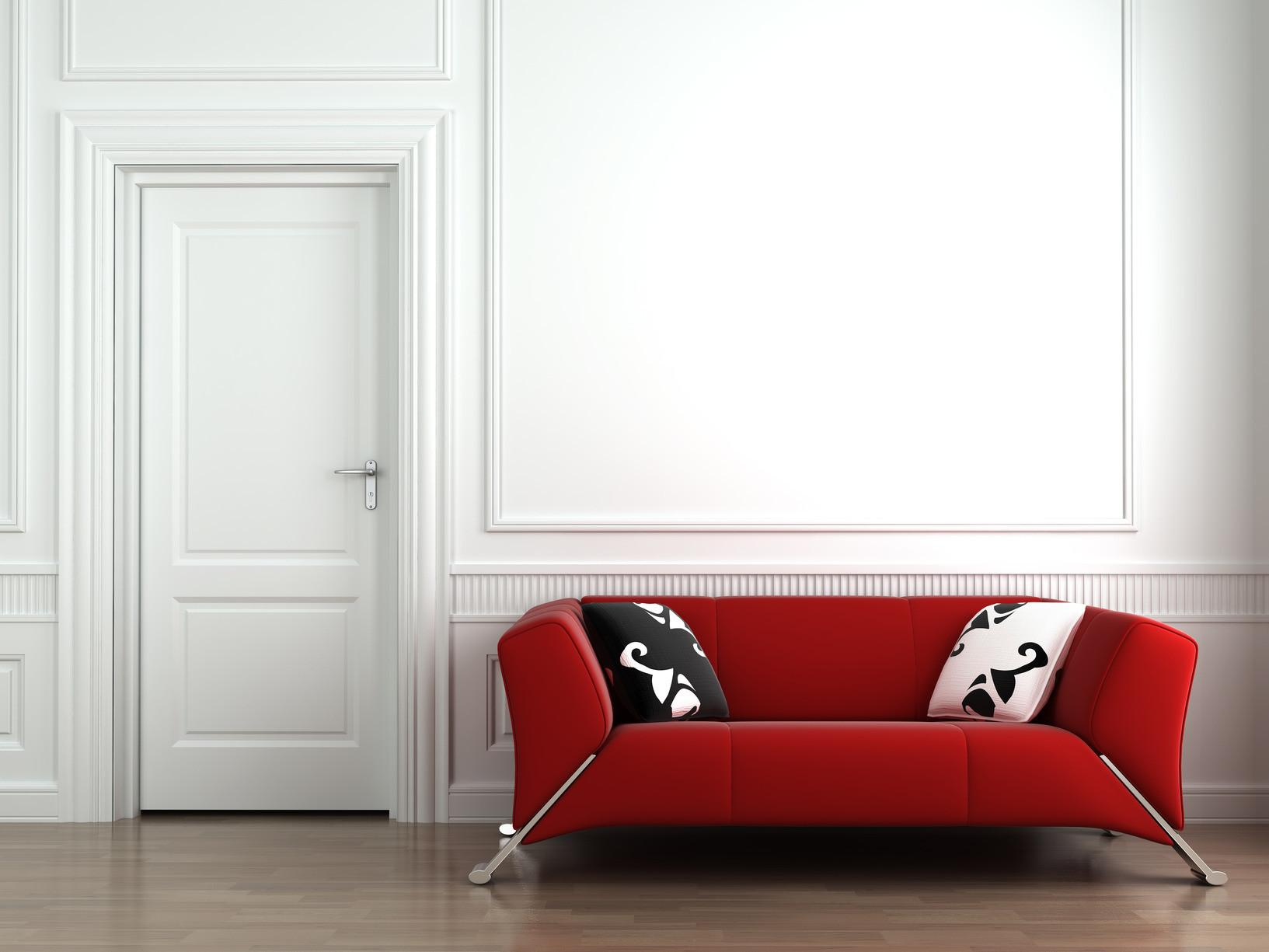 Hallmark Risk Red Couch White Interior Wall