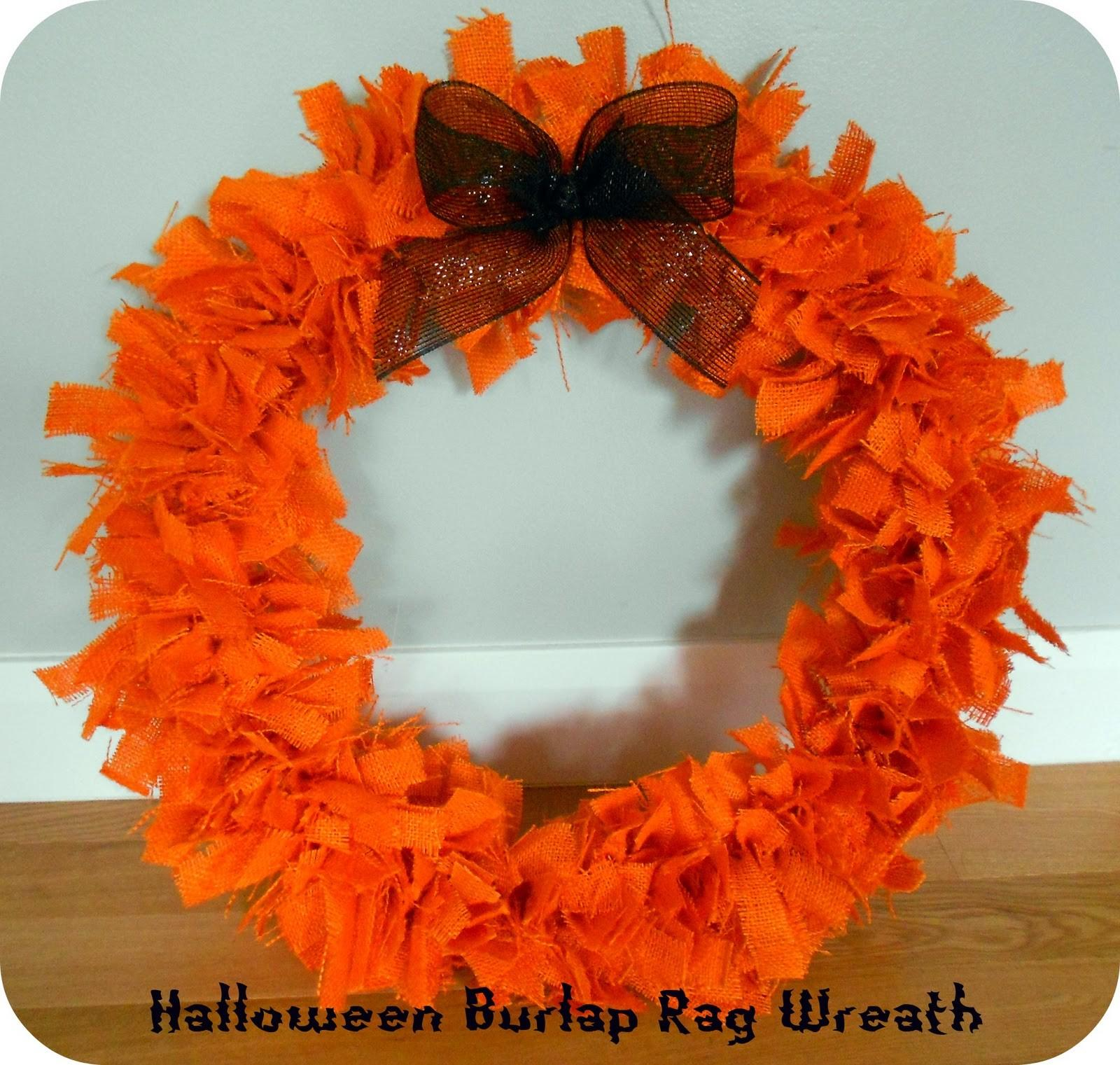 Halloween Burlap Rag Wreath Bow Tutorial Six Sisters