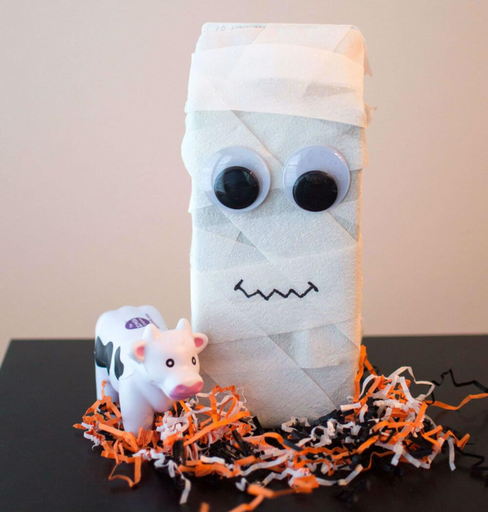 Halloween Crafts Mummy Haunted House Milk Cartons
