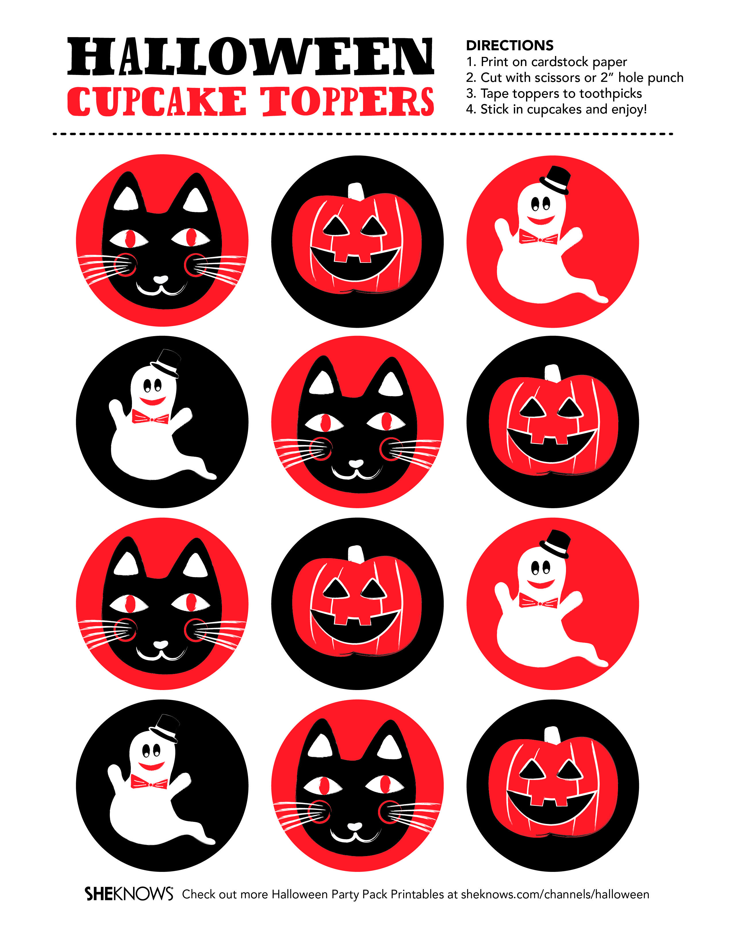 Halloween Party Printables Cupcake Toppers