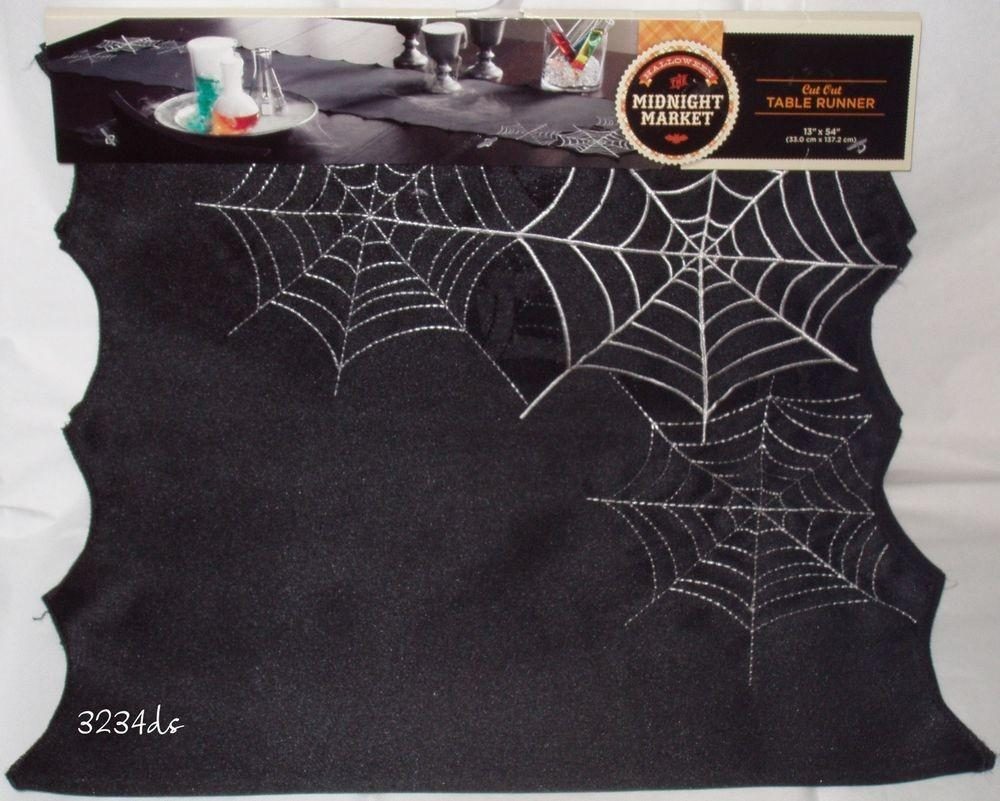 Halloween Spider Web Cut Out Embroidered Table