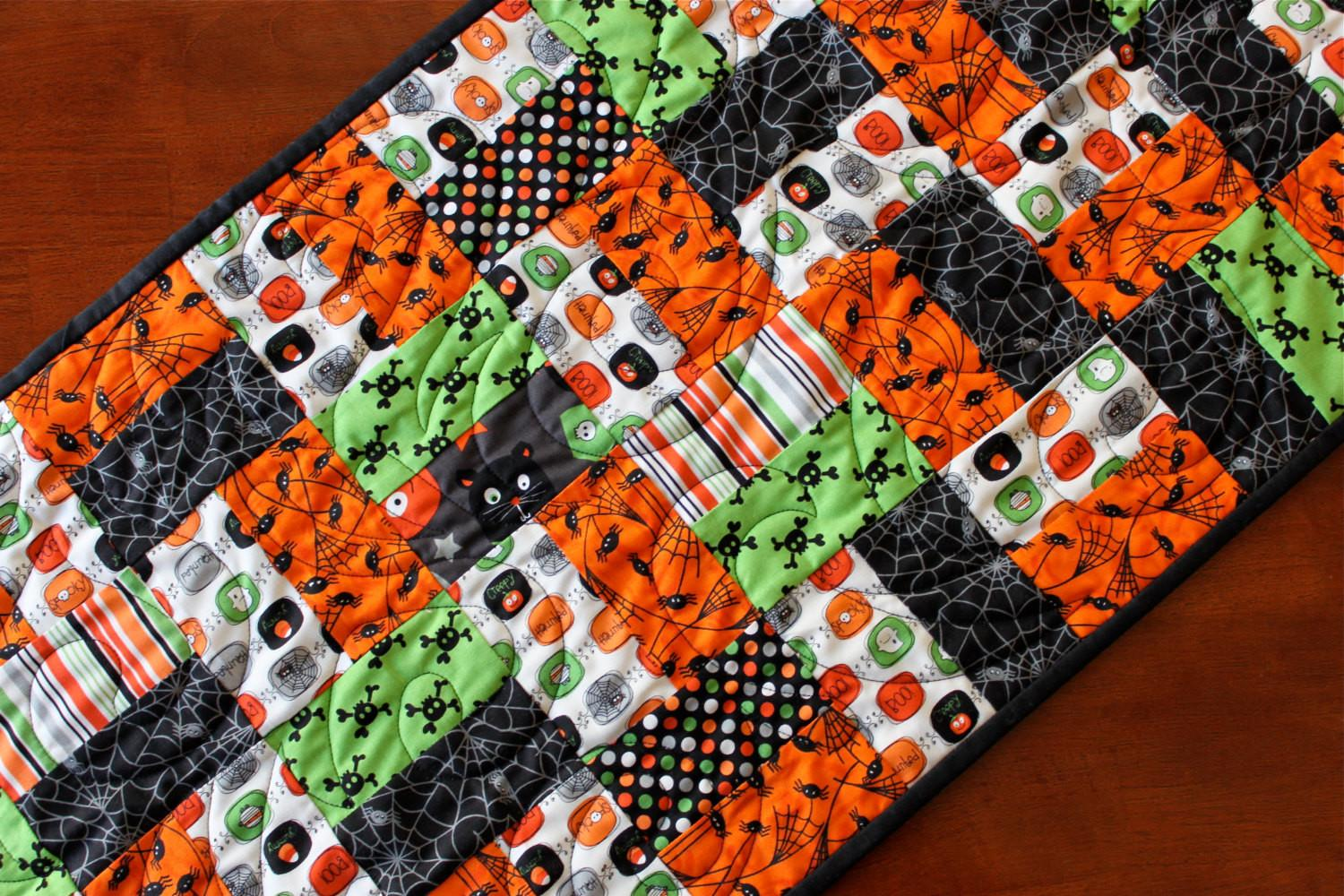 Halloween Spider Web Quilted Table Runner Black