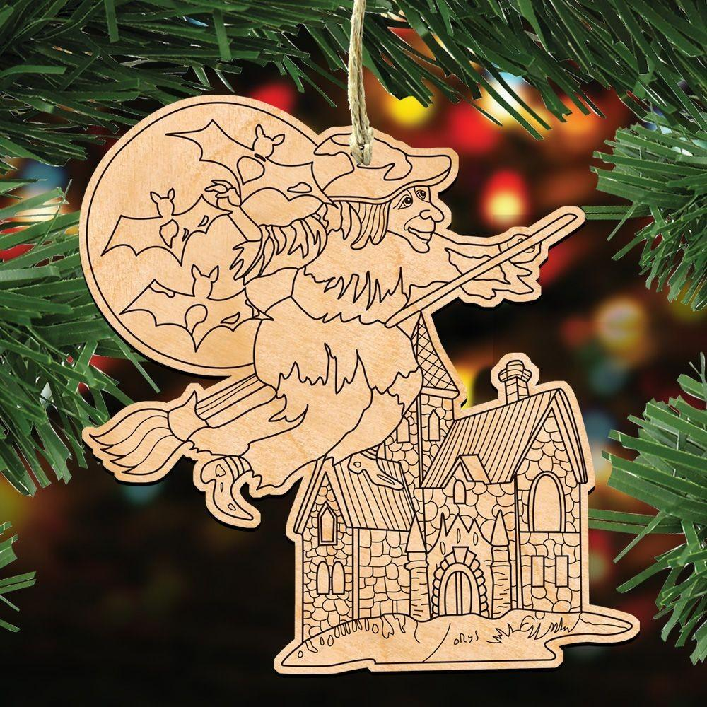 Halloween Witch Diy Coloring Decorative Holiday Ornament