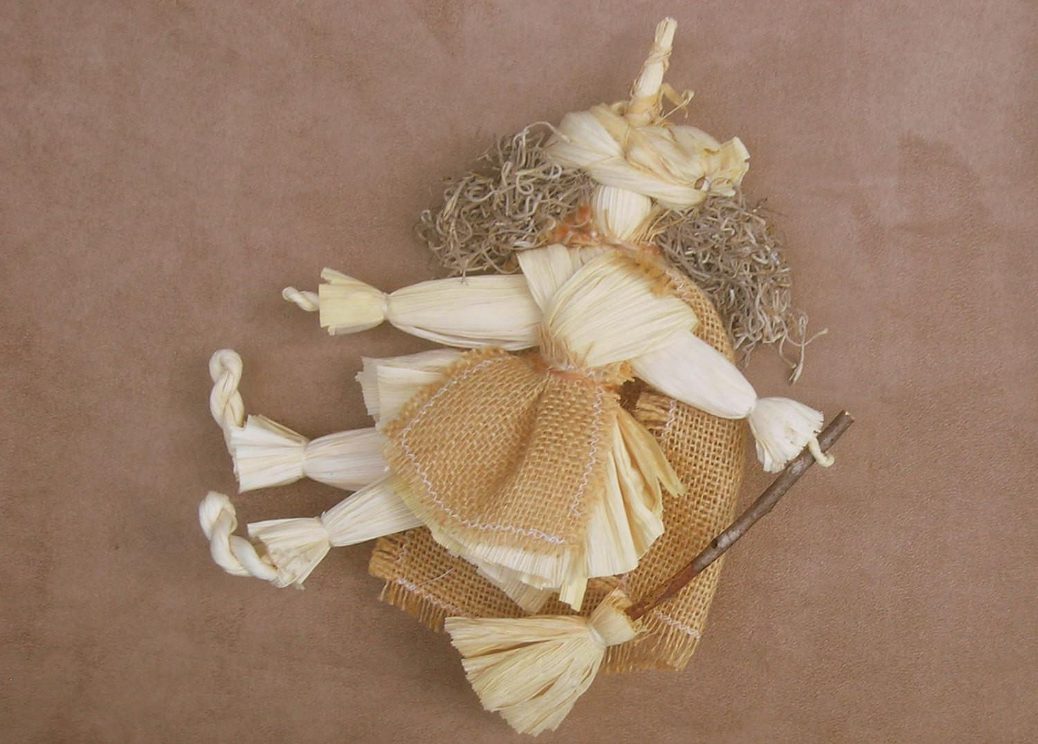 Halloween Witch Doll Corn Husk Home Decor Ooak
