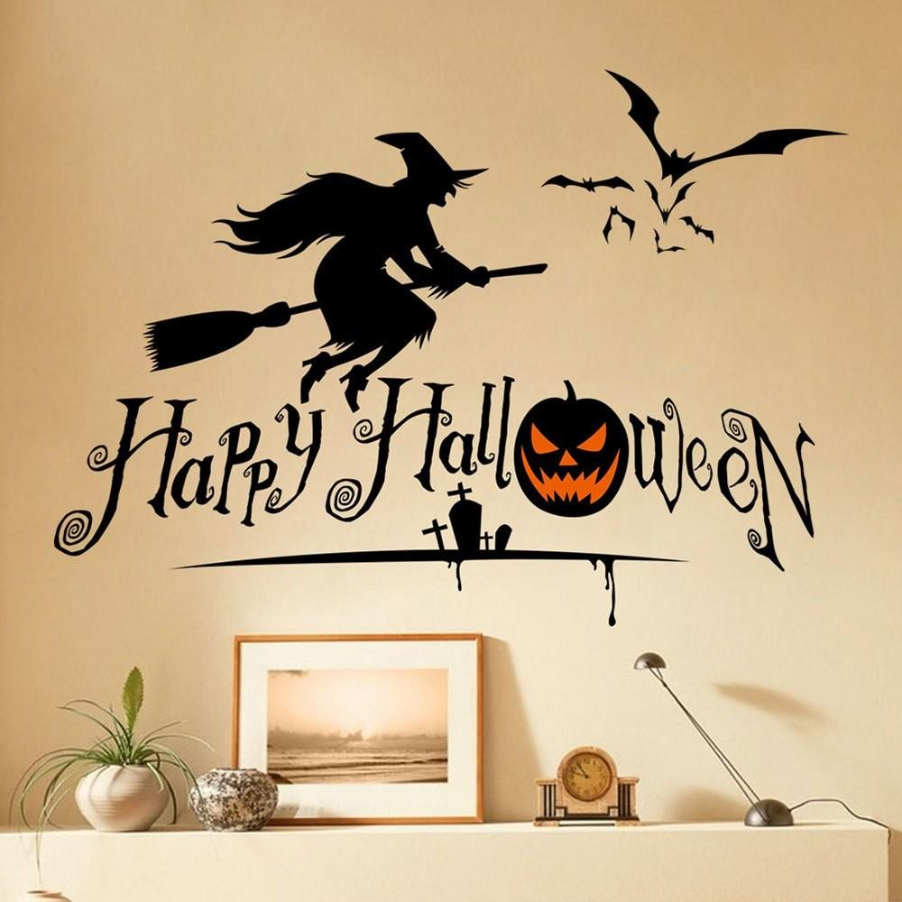 Halloween Witch Shape Diy Wall Stickers Black