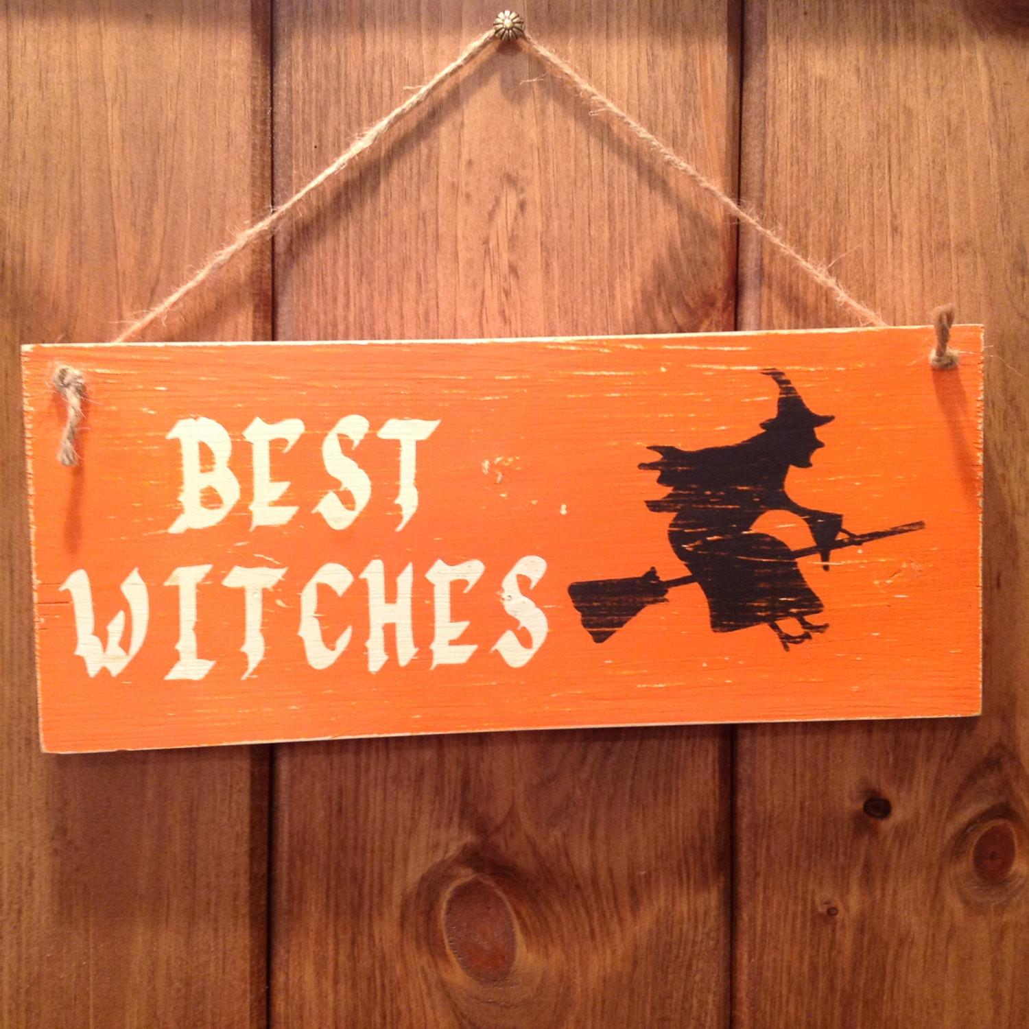 Halloween Witch Sign Decor Handmade Chalk Painted