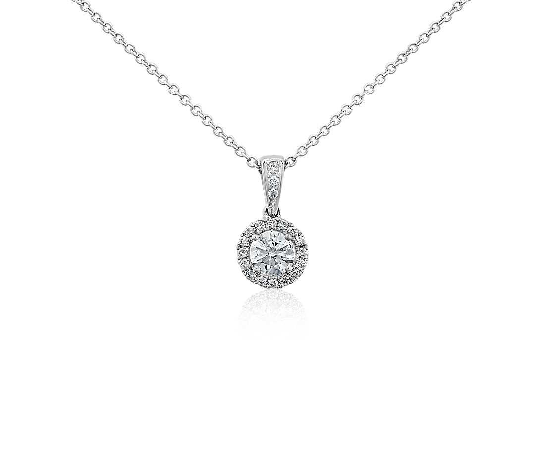 Halo Diamond Pendant 18k White Gold