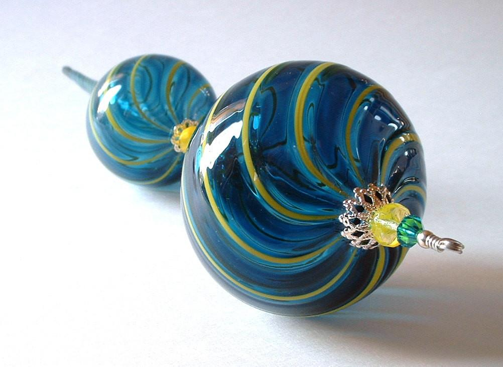 Hand Blown Glass Christmas Ornament Beaded Teal Blue Yellow