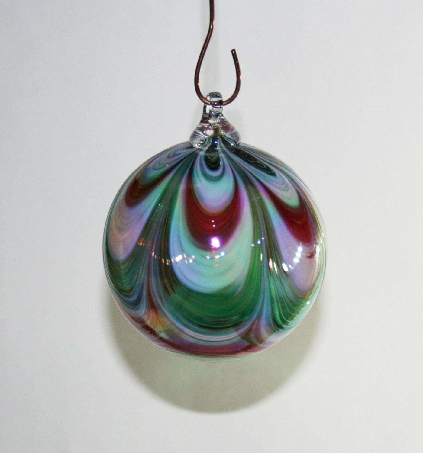 Hand Blown Glass Christmas Ornament Red White
