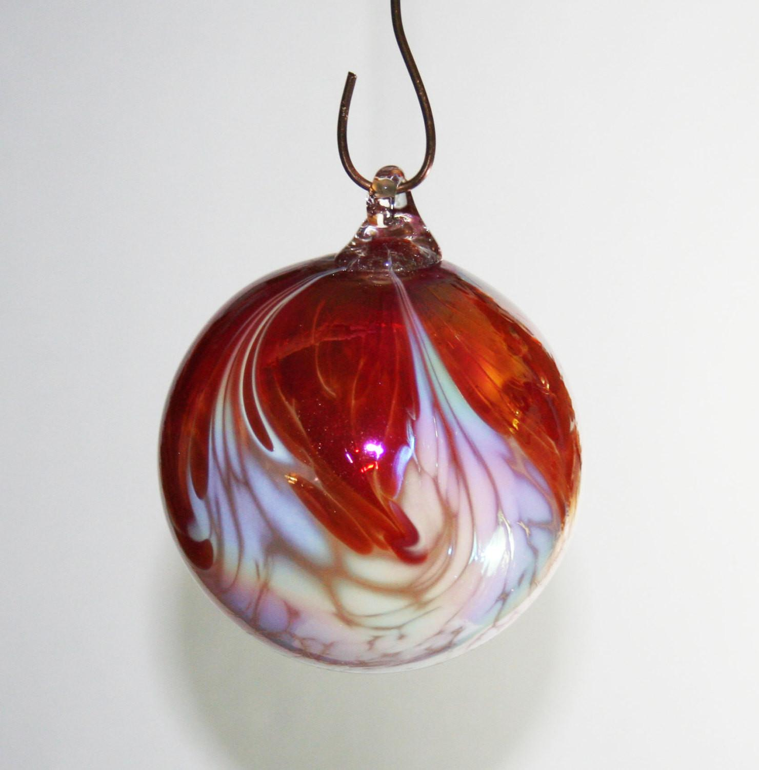 Hand Blown Glass Christmas Ornament Red White Feathered