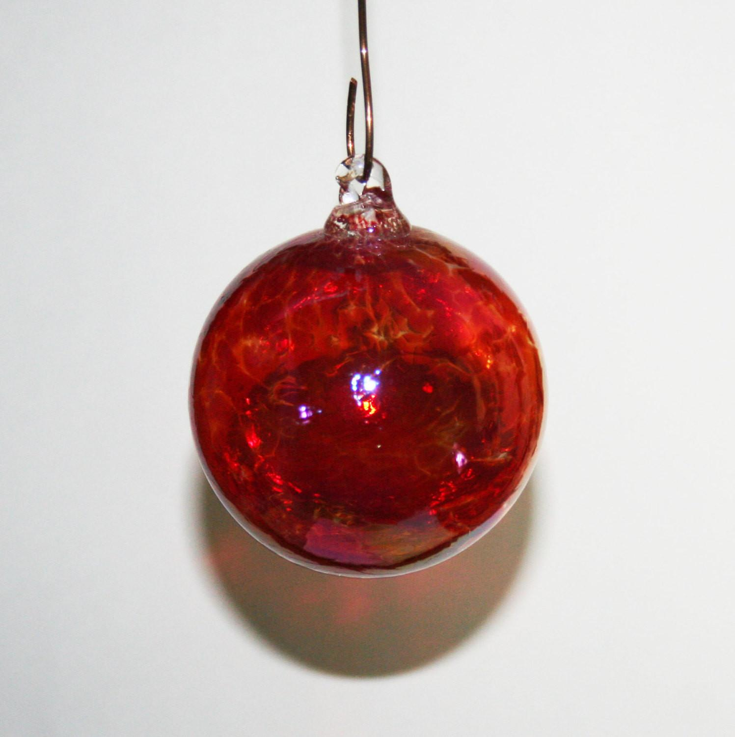 Hand Blown Glass Christmas Ornaments Bright Red