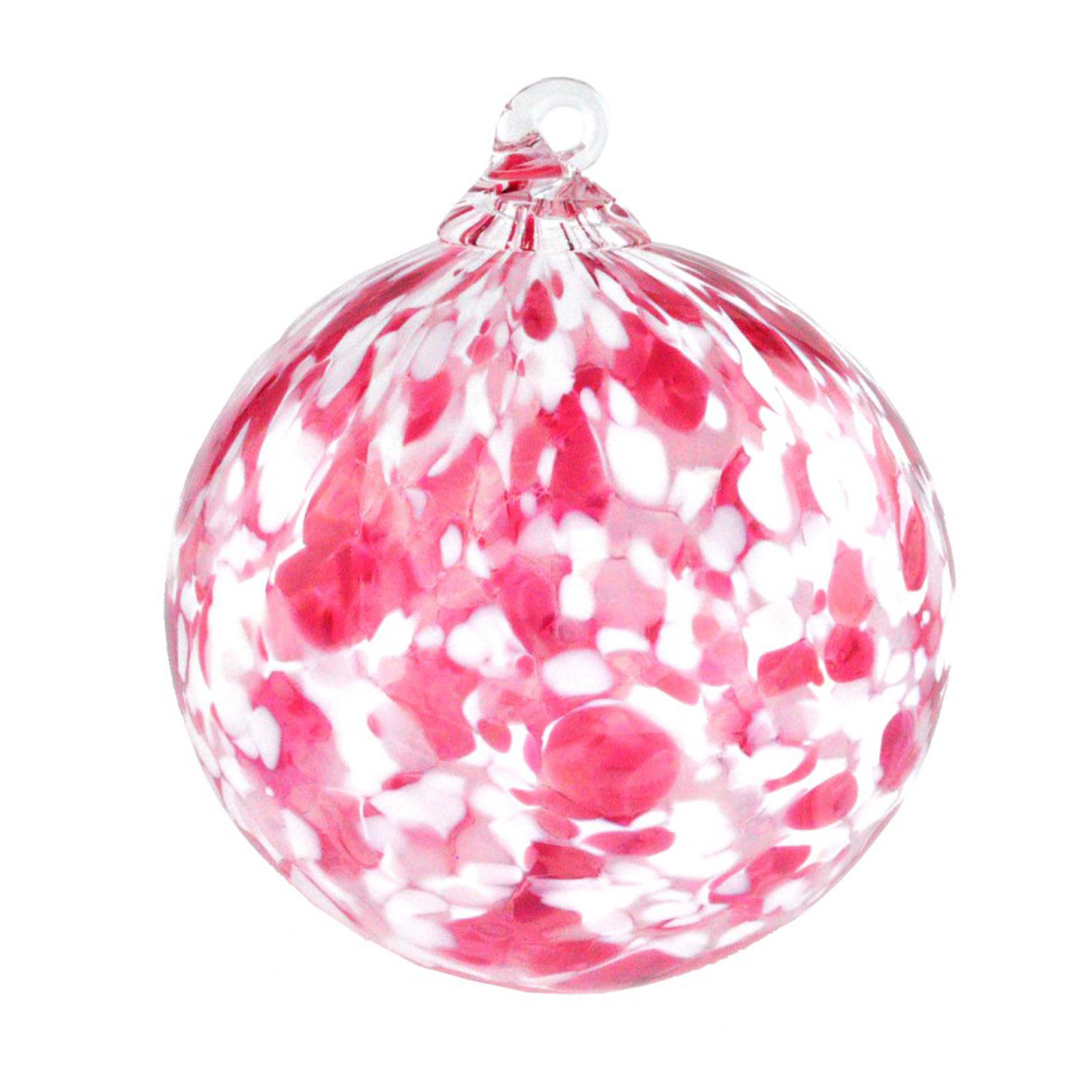 Hand Blown Glass Red Snow Storm Christmas Ornament