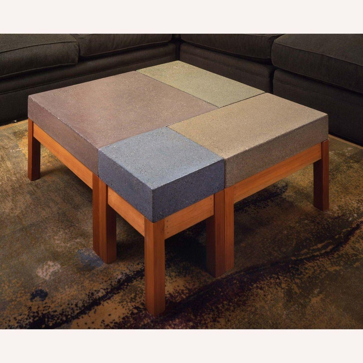 Hand Crafted Concrete Modular Coffee Table Bohemian