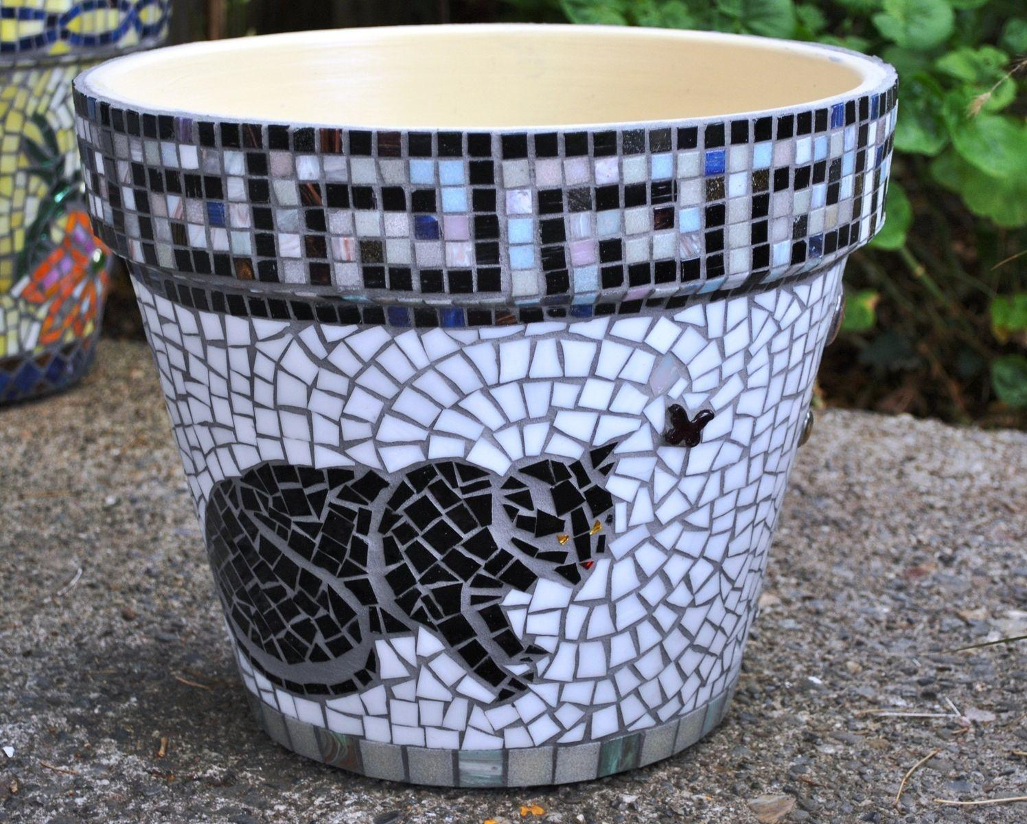 Hand Crafted Mosaic Flower Pot White Black Cats