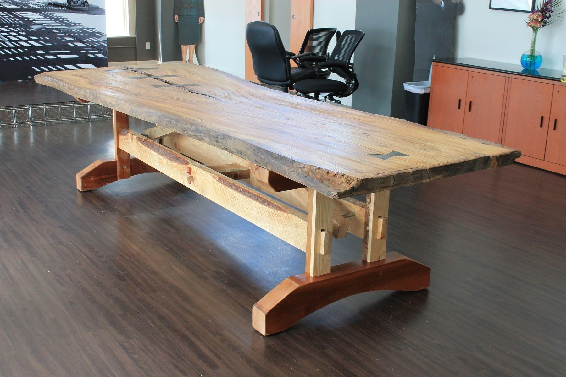 Hand Crafted Reclaimed Live Edge Elm Table Crafty