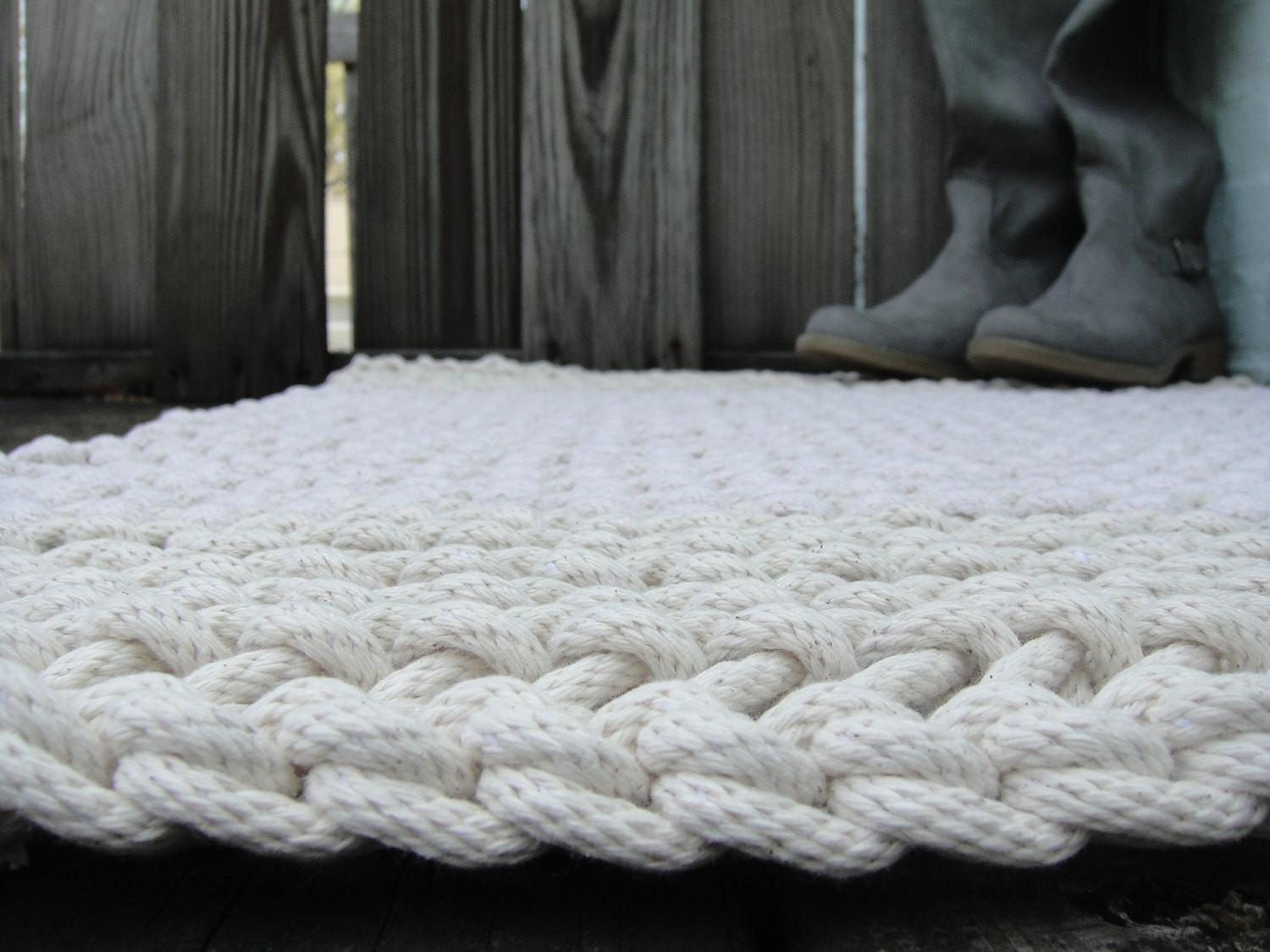 Hand Knit Rope Rug