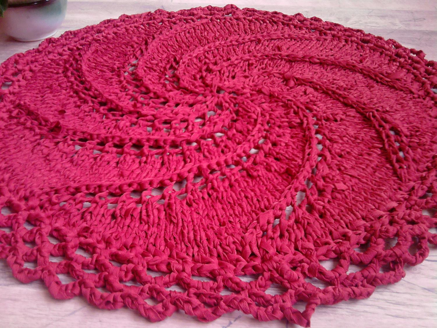 Hand Knitted Red Rag Rug Spiral Crochet Edge