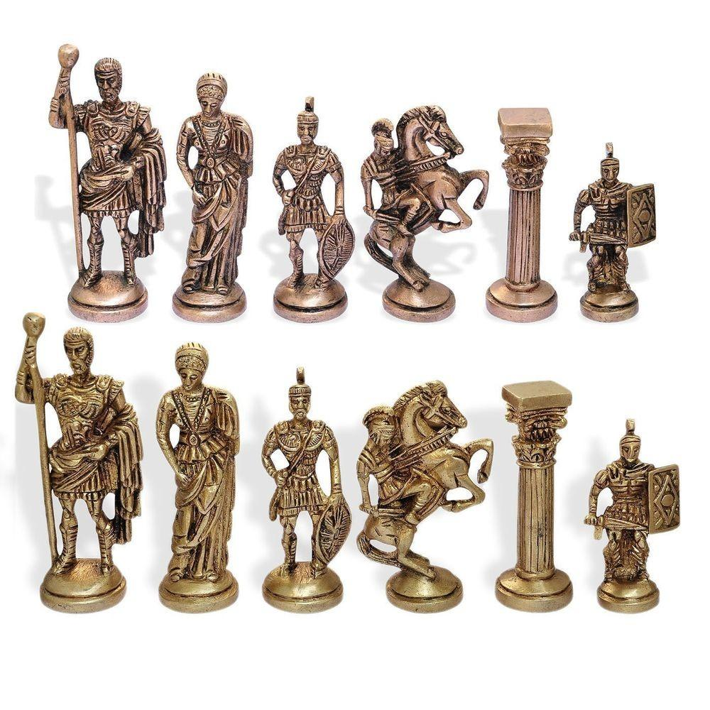 Hand Made Brass Manopoulos Chess Pieces Set Unique